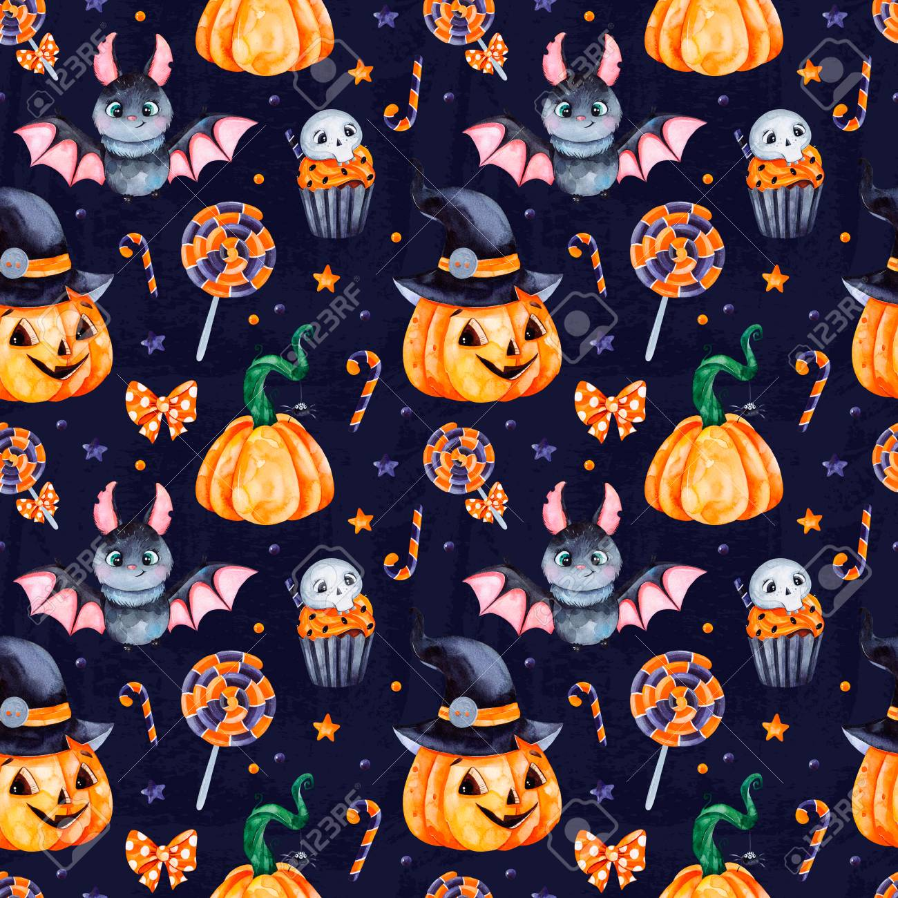 Cute Watercolor Halloween Seamless Pattern Dark Background With 1300x1300