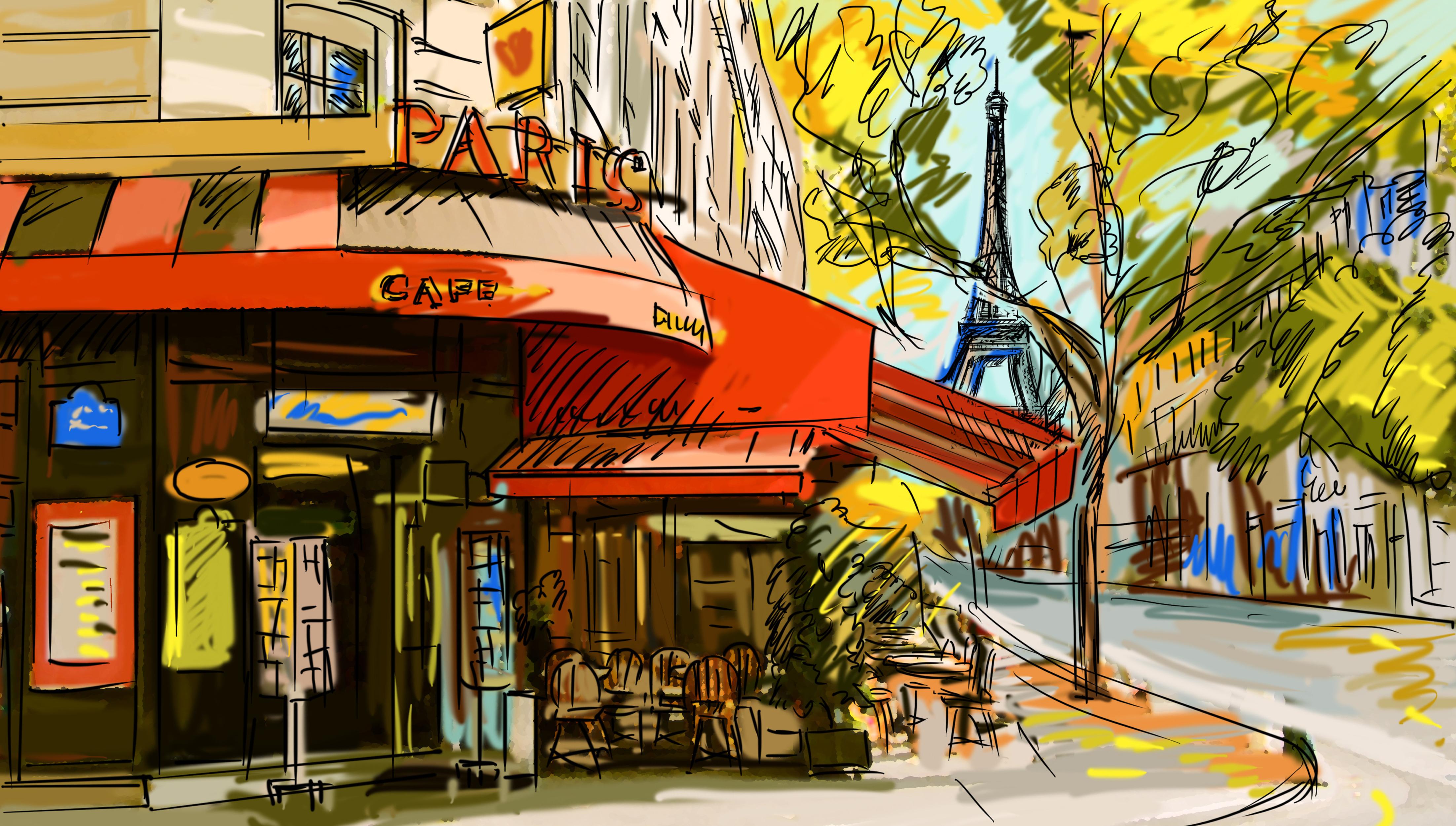 Woof Paris Street Cafe Wallpaper   mario brosscom 4408x2500
