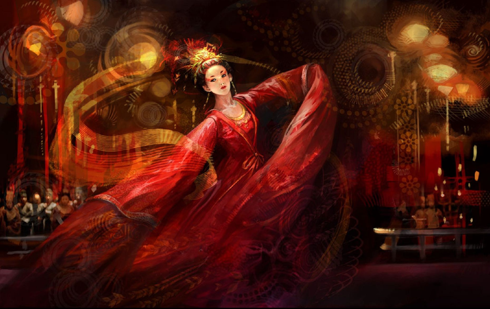 Exotic Dancing Geisha 3D abstract art asian beautiful black 1858x1174