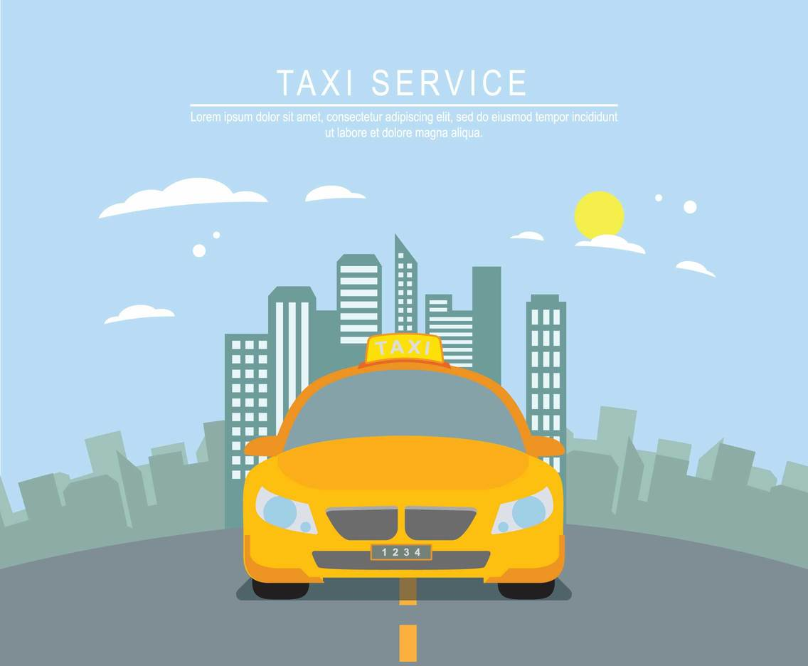 Yellow Taxi With City Background Illustration Vector Art 1136x936