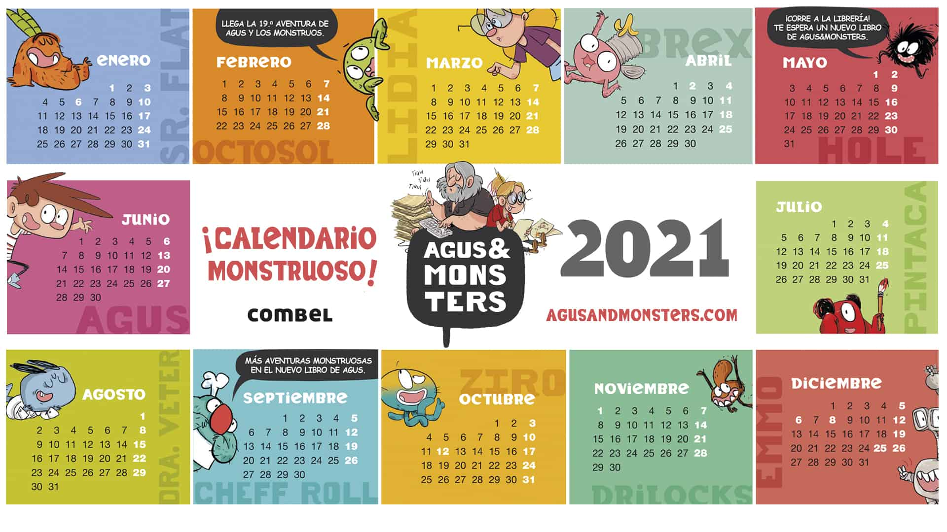 2021 monstrous calendar wallpaper   Agus and Monsters 1920x1080