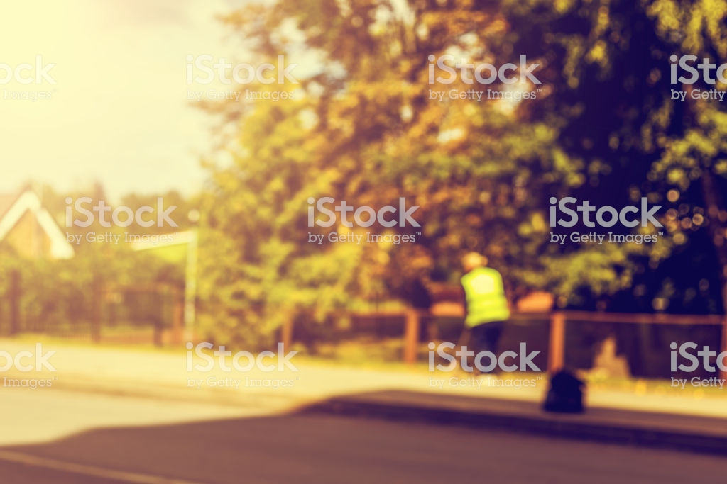 Abstract Blurred Background Road Sweeper Worker Cleaning City 1024x683