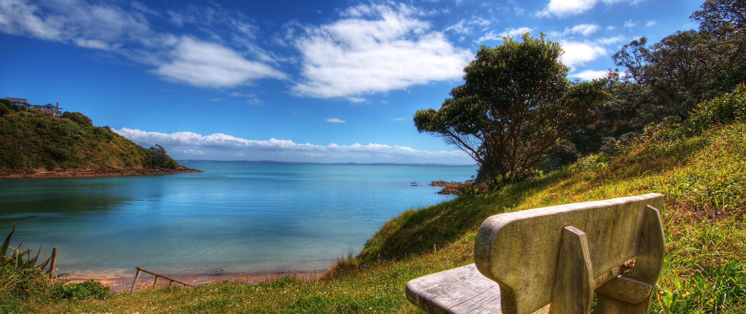 Download Wallpaper 2560x1080 Bench Sea Landscape Coast 2560x1080 21 2560x1080