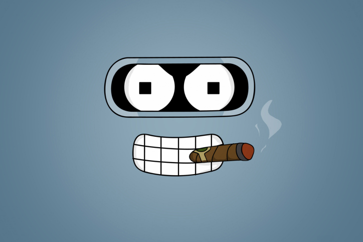 Futurama Bender Cigar Wallpaper for Android iPhone and iPad 728x485