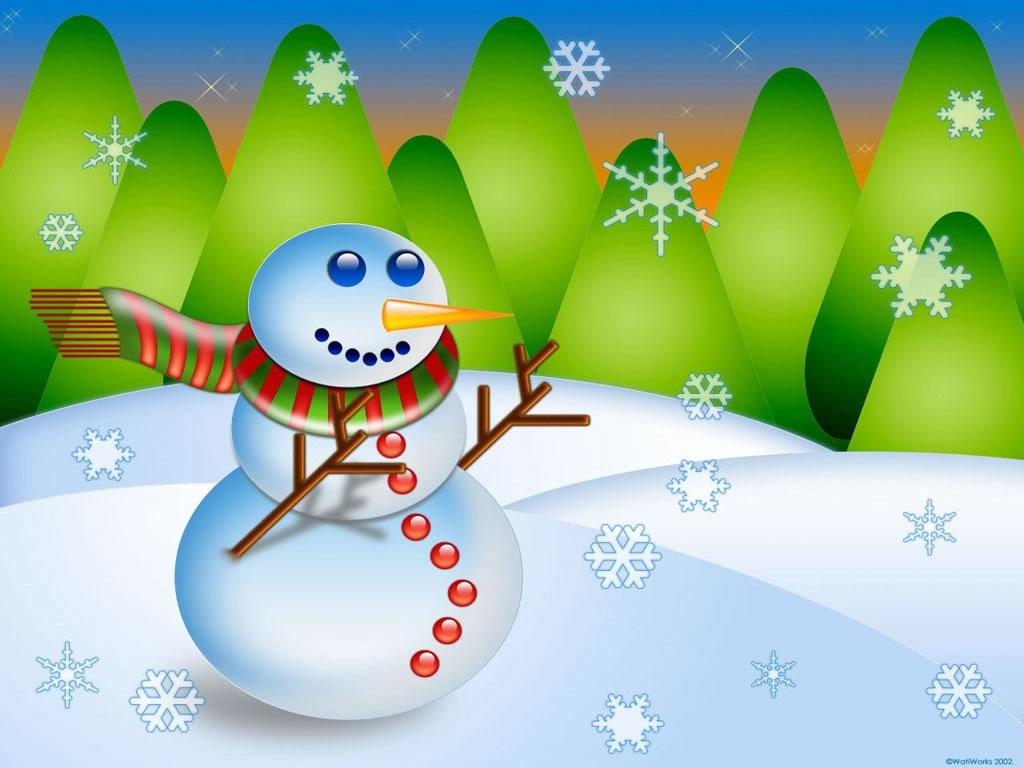 cartoon christmas wallpaper snowman wallpaper 4584jpg 1024x768