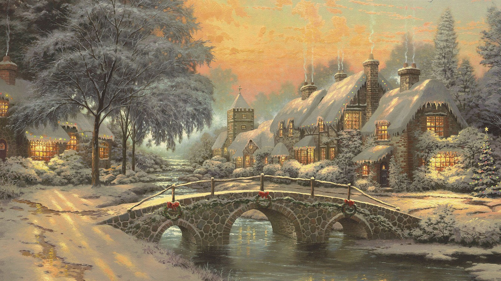Paintings Nature Wallpaper 1600x900 Paintings Nature Winter Snow 1600x900