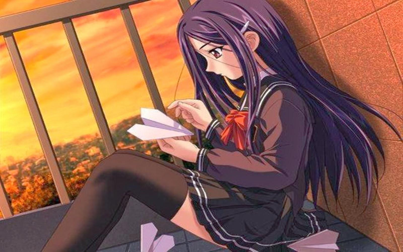 Sad girl anime wallpaper for Desktop Facebook Laptop Charming 1600x1000