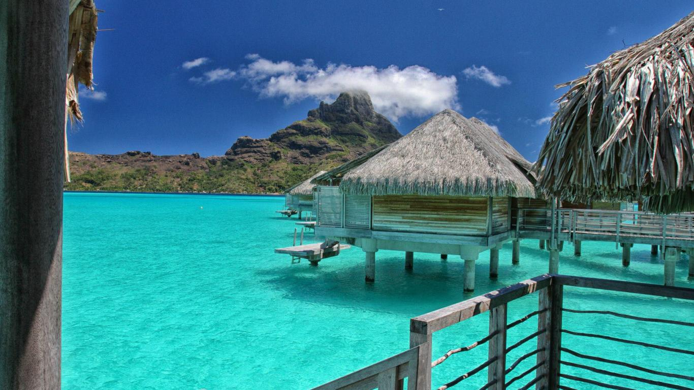 villas bora bora   149376   High Quality and Resolution Wallpapers 1366x768