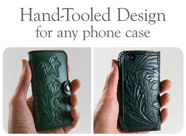 Hand Tooled Leather for Phone Case Acanthus LeavesIvy Hand and 600x440