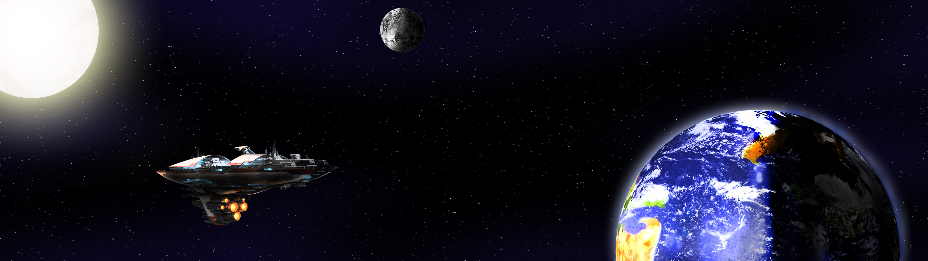 Art Space Dual Screen Light Earth Planets Black Hole Desktop 2416x900 3200x900