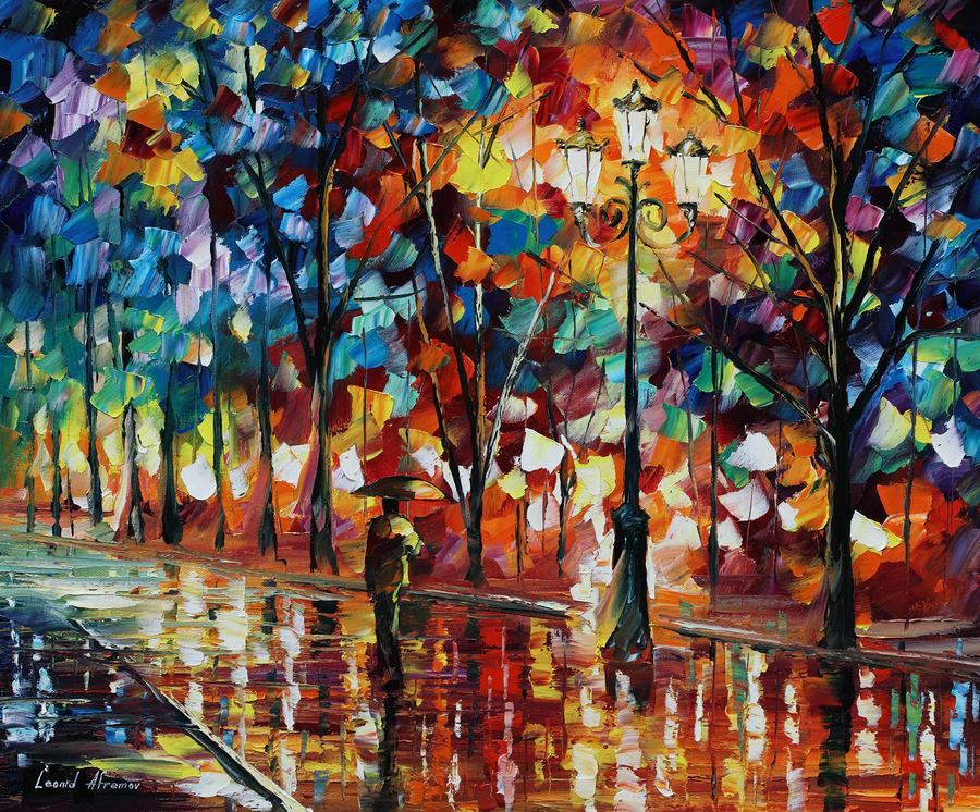 leonid afremov   de man alleen paraplu wallpaper   ForWallpapercom 900x746
