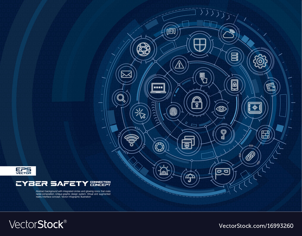 Abstract cyber security background digital Vector Image 1000x782