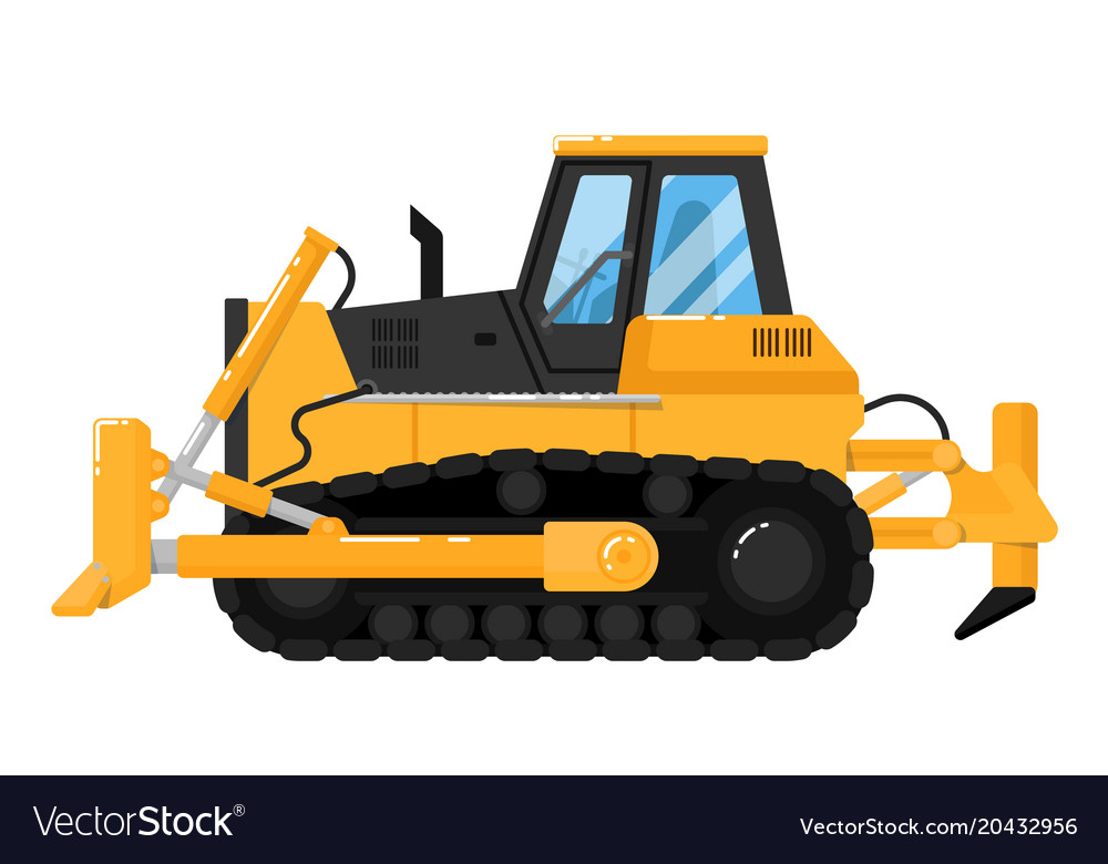 Yellow bulldozer isolated on white background Vector Image 1000x780