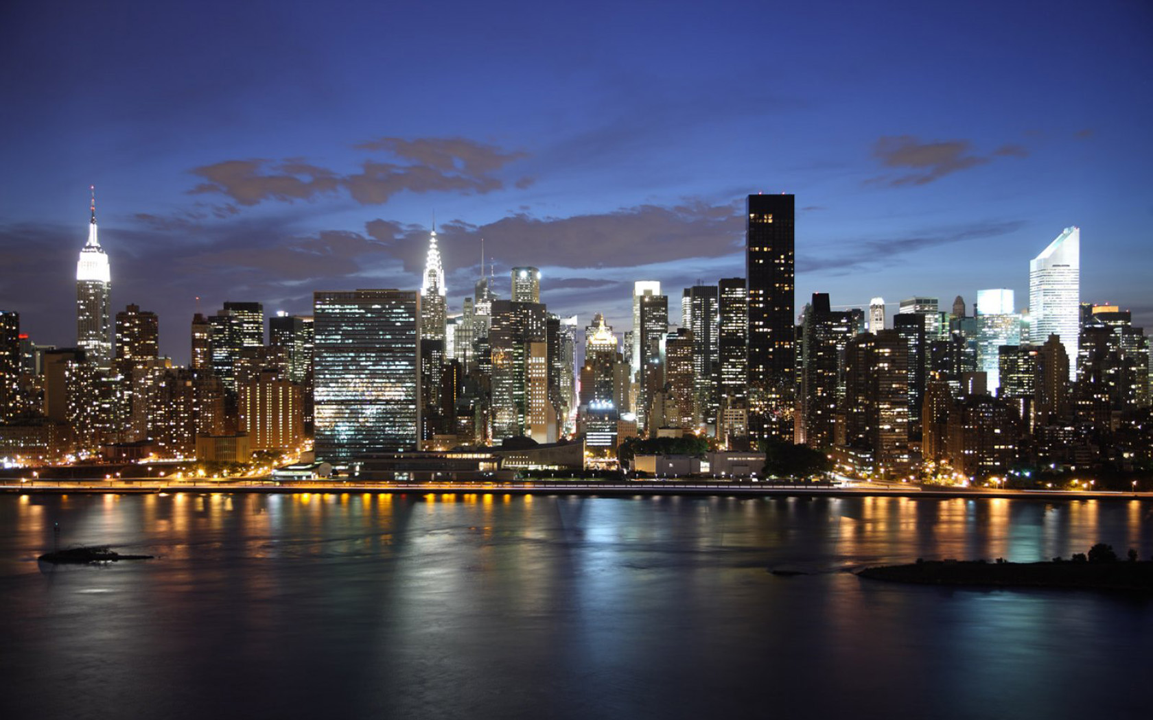 New York Skyline Night Wallpaper 1680x1050 pixel City HD Wallpaper 1680x1050