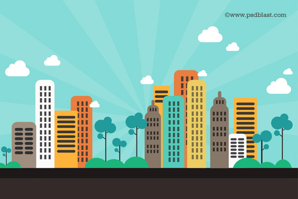 Flat Cartoon CityScape Background Download Vector Graphics 600x400