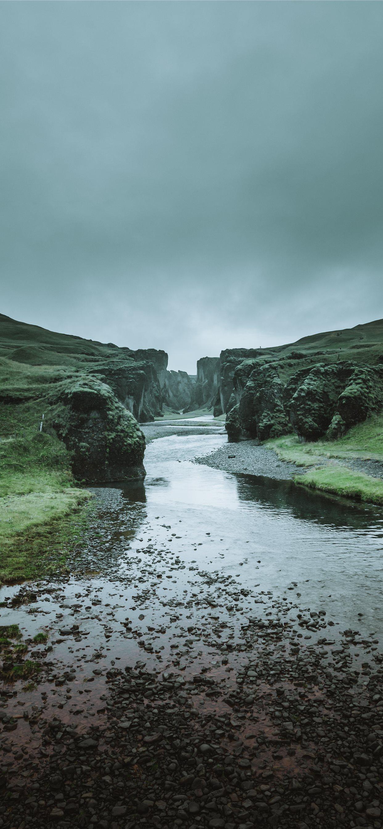 River Stream Coast Steep Stony Ditch Faroe Islands iPhone X 1242x2688