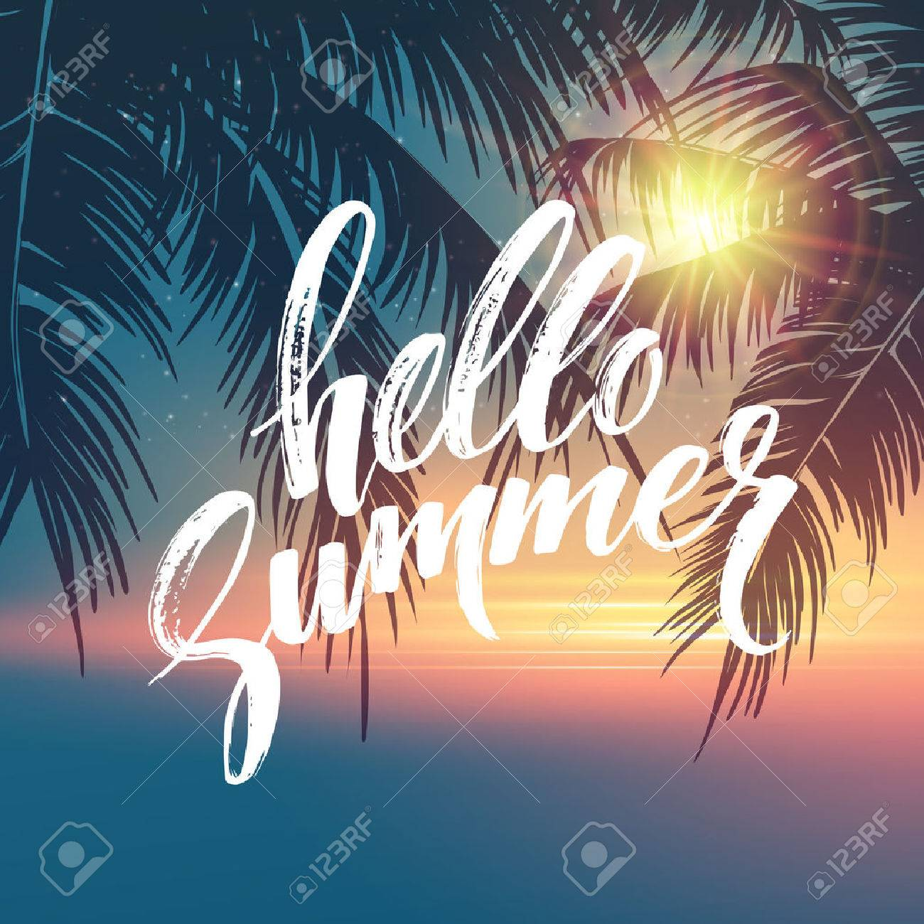 Hello Summer Background Tropical Palm Leaves Pattern Handwriting 1300x1300