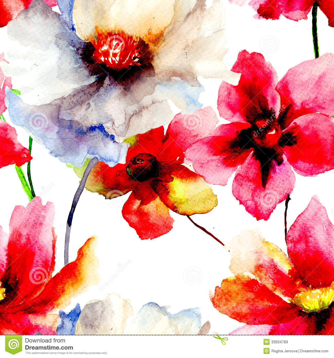 Free Download Watercolor Flower Wallpaper Seamless Wallpaper With