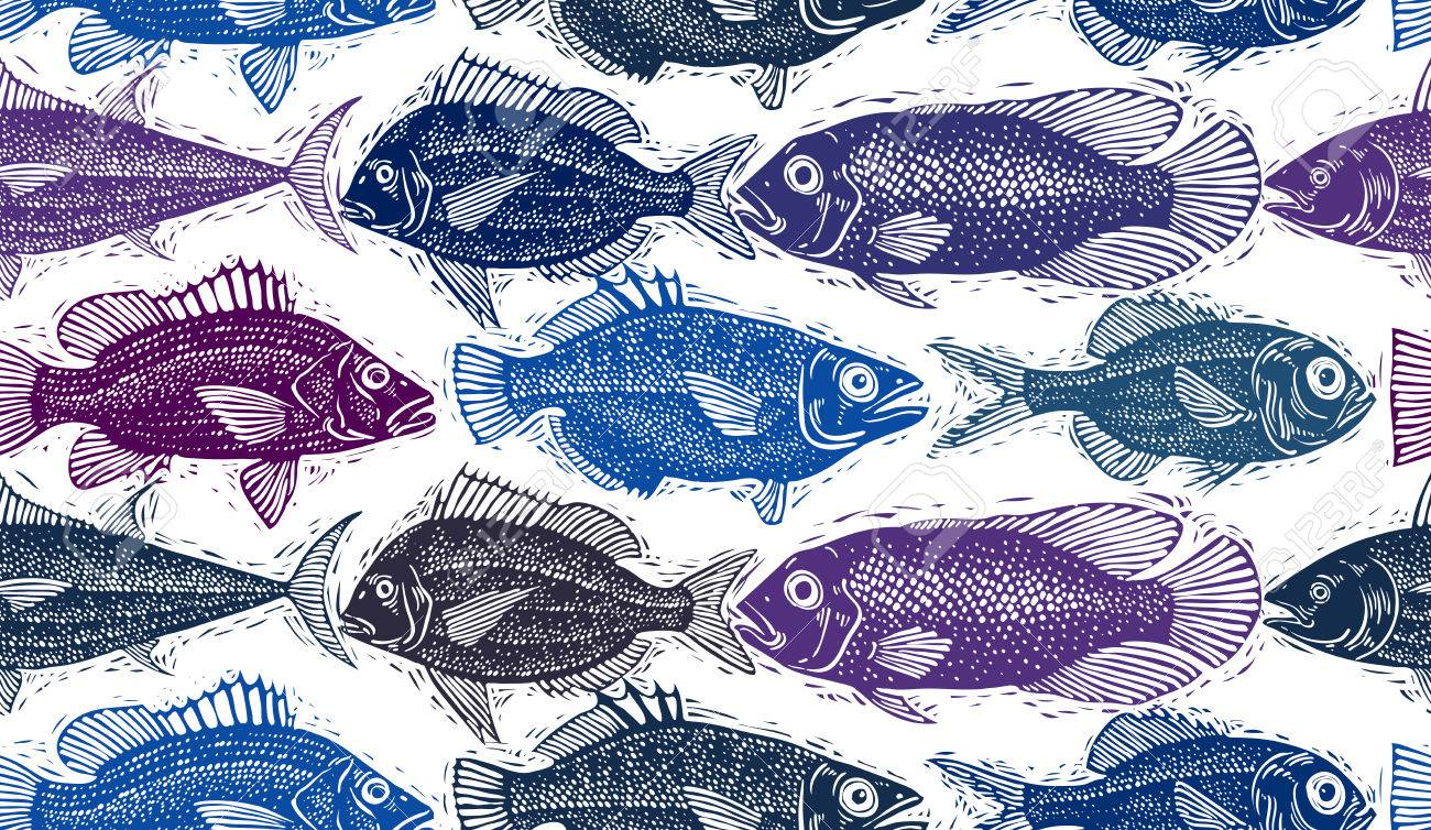 Freshwater Vector Fish Endless Pattern Art Nature And Marine 1300x754