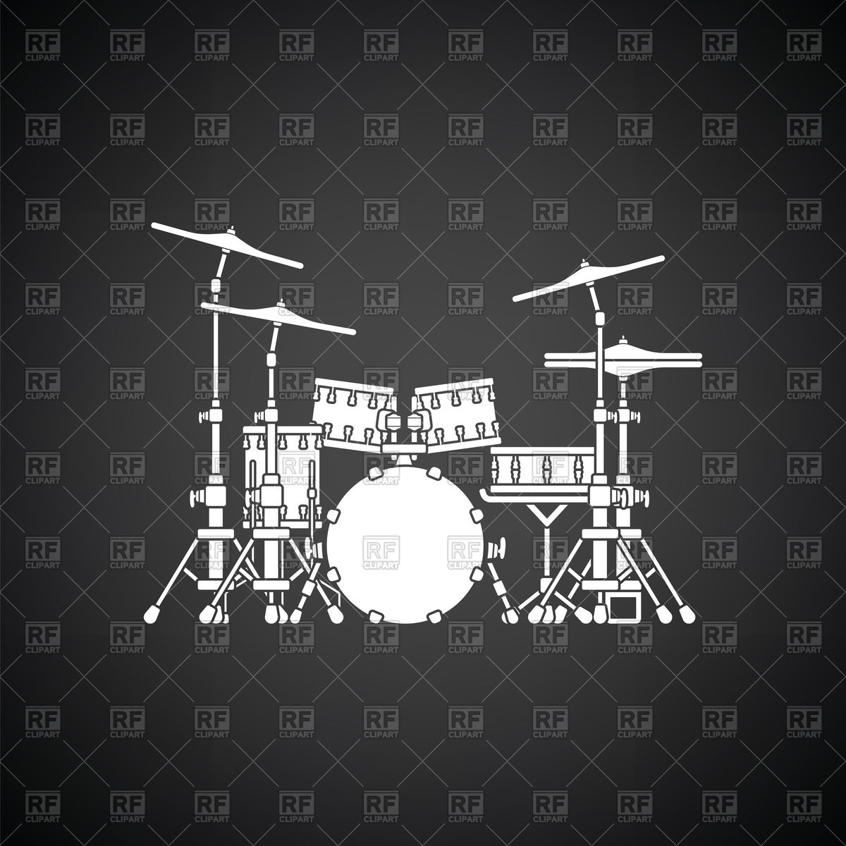 Drum set icon on black background Vector Image of Music angelp 1200x1200
