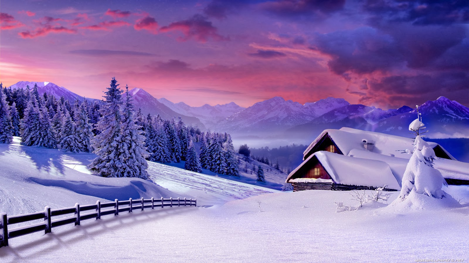 Winter Scenes Wallpapers Backgrounds 1600x900