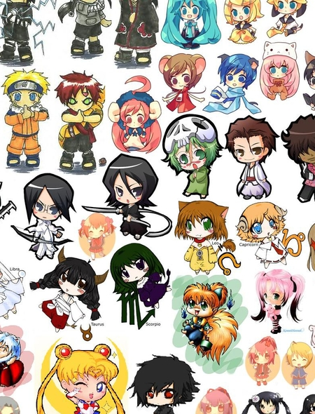 Chibi Anime Characters Wallpaper for Amazon Kindle Fire 450x590