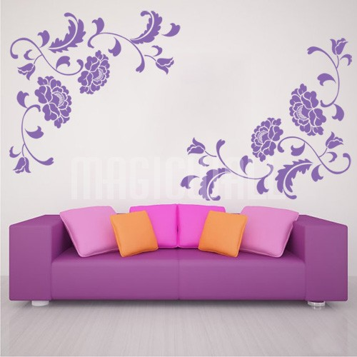 Home Floral Peony   Vine   Wall Decals Stickers 500x500