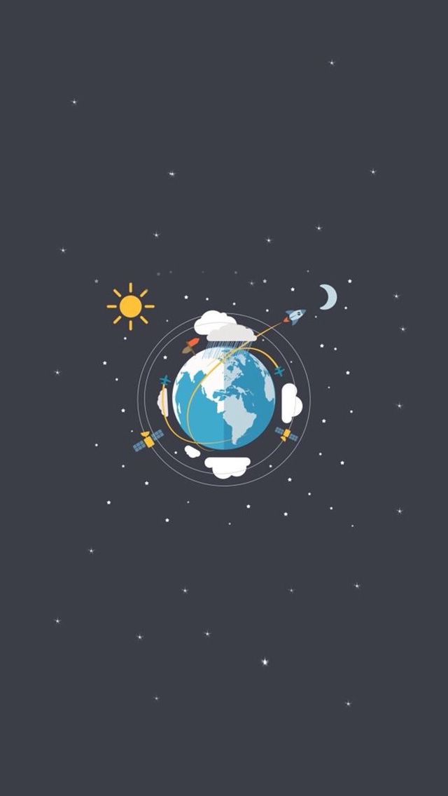 Earth Satellites Sun Moon Illustration iPhone 5 Wallpaper Space 640x1136