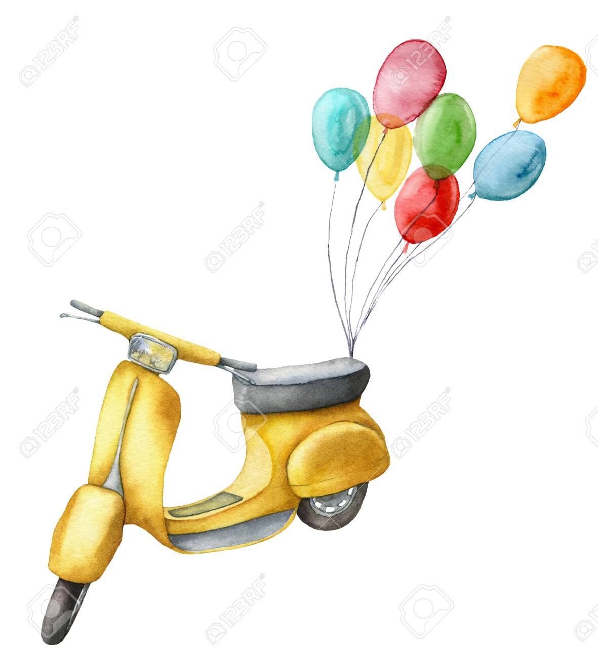 Watercolor Card With Yellow Scooter And Air Balloons Hand Painted 1181x1300