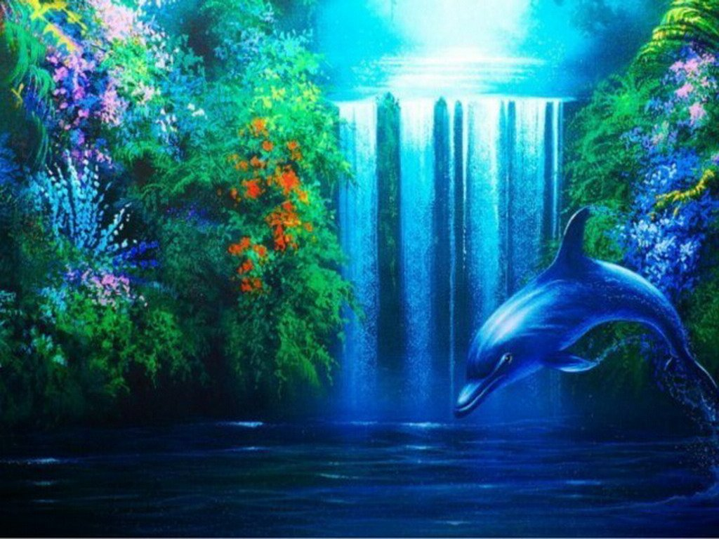 dolphin the waterfall desktop wallpaper download dolphin the 1024x768