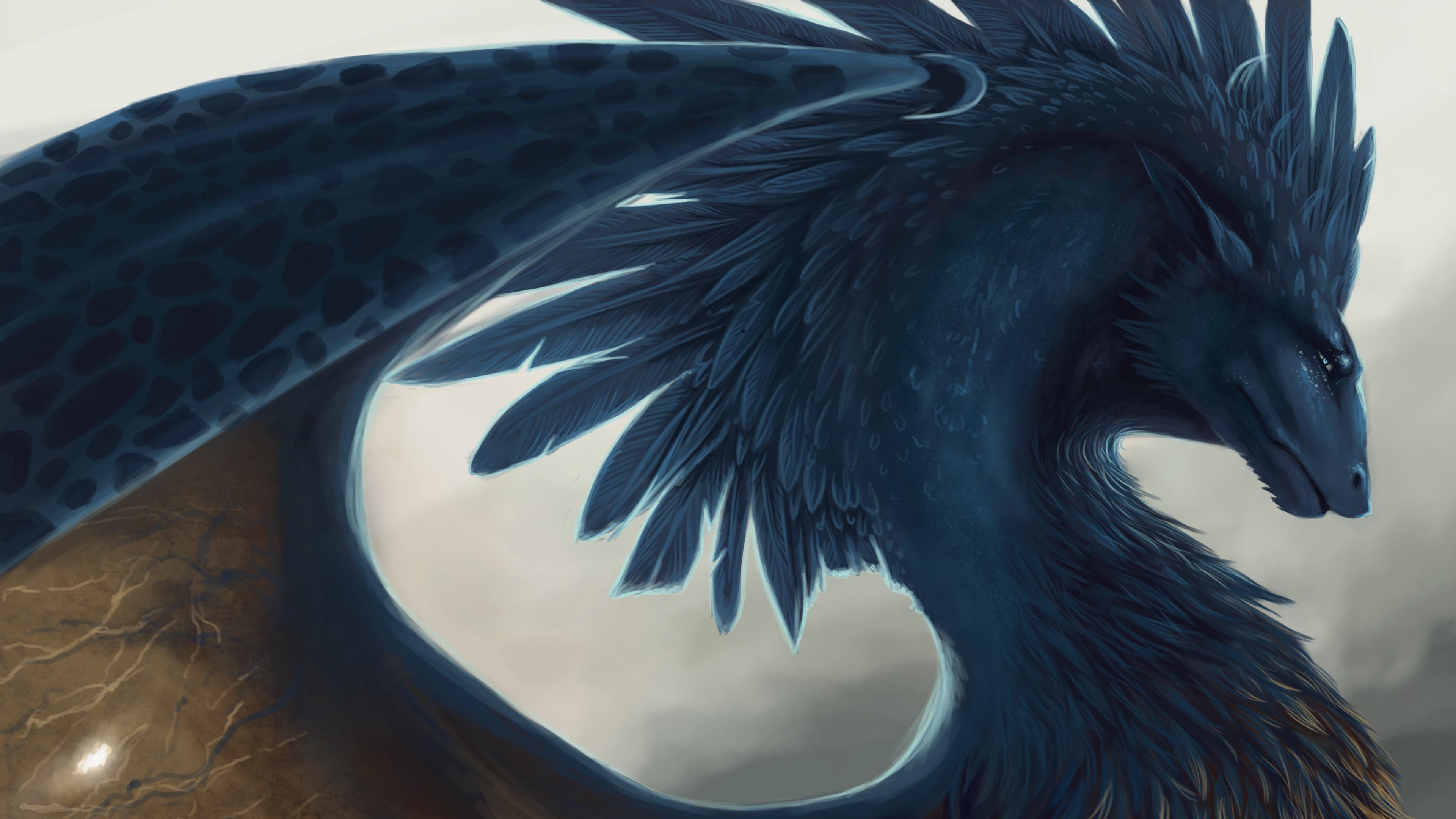 Download wallpaper 3840x2160 dragon fantasy art feathers 4k uhd 3840x2160