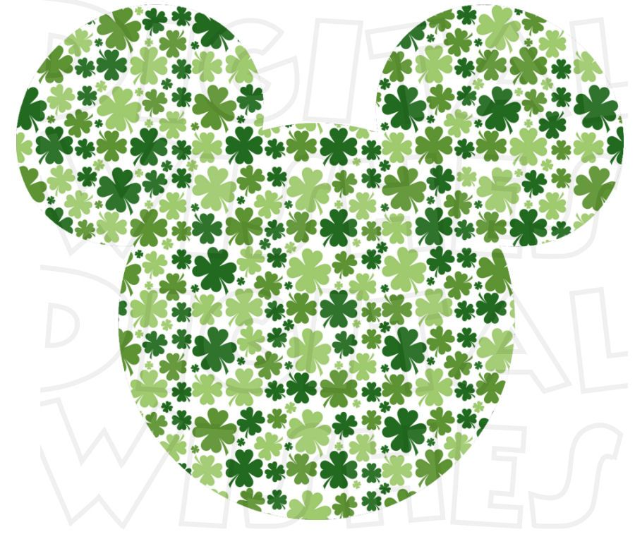 St Patricks Day Irish Clover Mickey Mouse ears head INSTANT 900x781