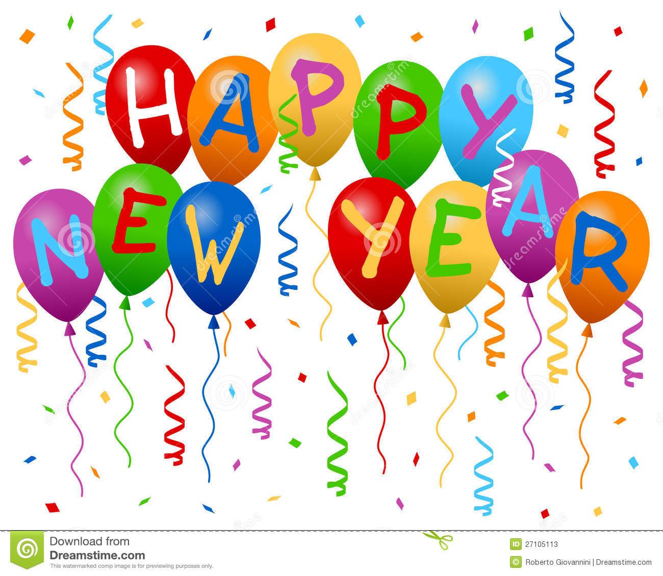 Happy New Year Balloons 1300x1130