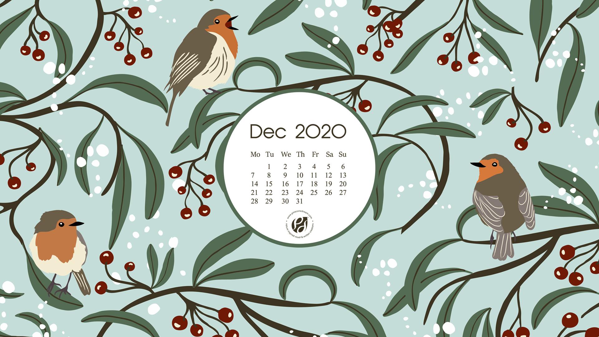 December 2020 calendar wallpapers printable planner 1920x1080