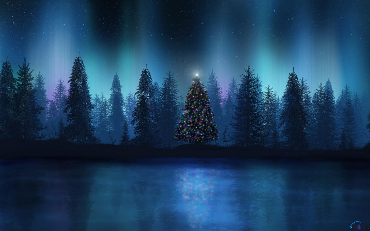 Download Wallpaper Aurora at Christmas night 1280 x 800 widescreen 1280x800