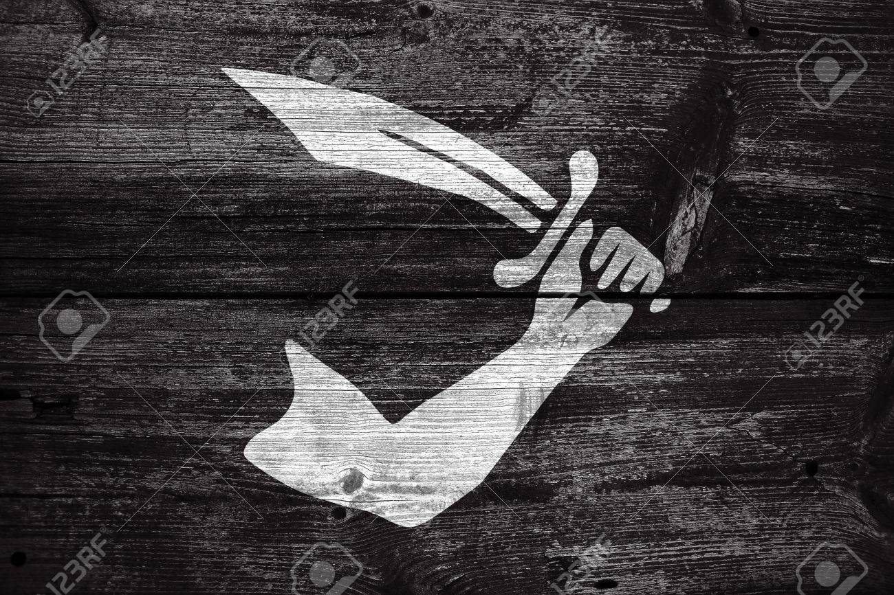 Thomas Tew Pirate Flag Painted On Old Wood Plank Background Stock 1300x866