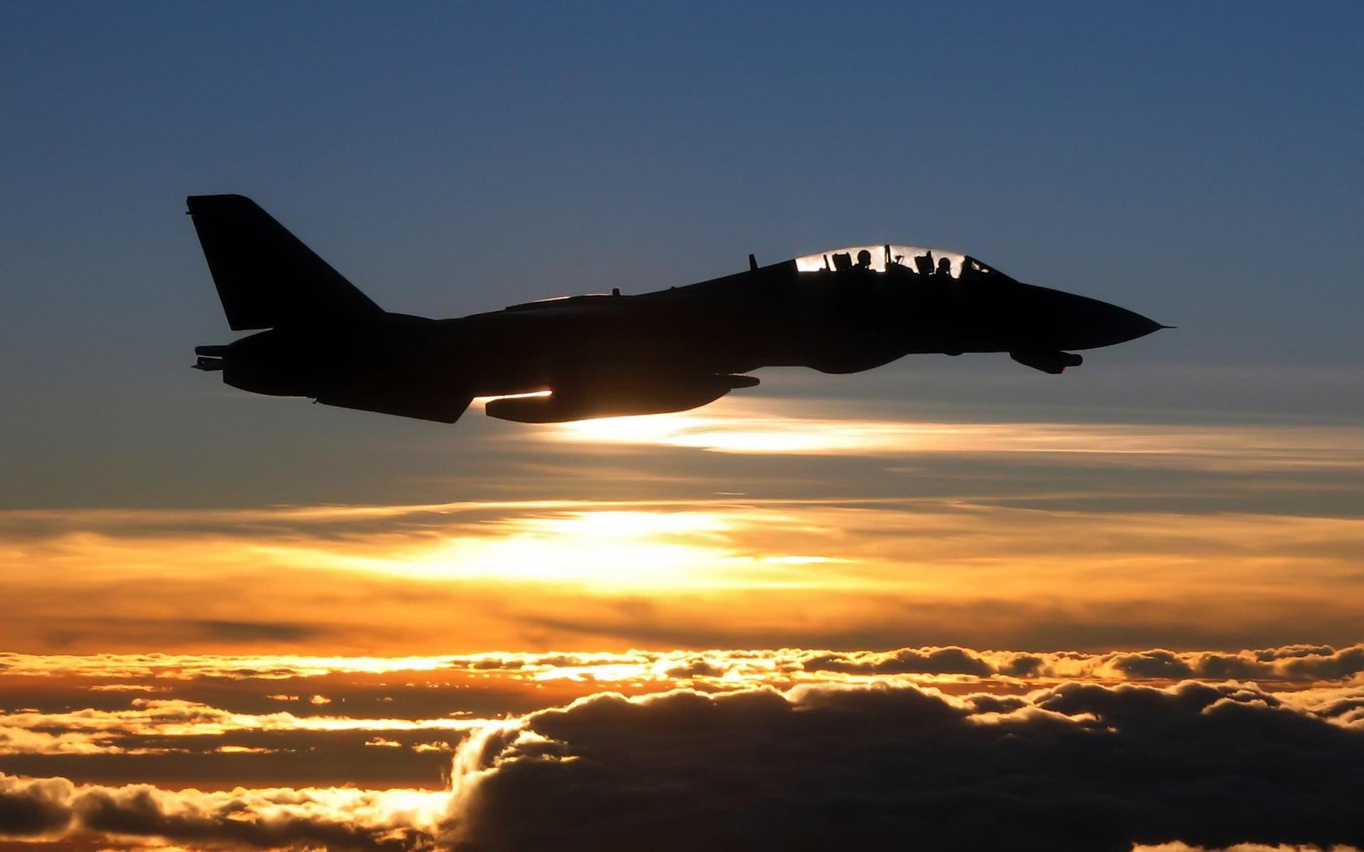 Black monoplane airplane sunset Grumman F 14 Tomcat silhouette 1920x1200