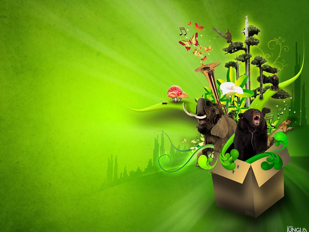 wallpaper green theme 1024x768