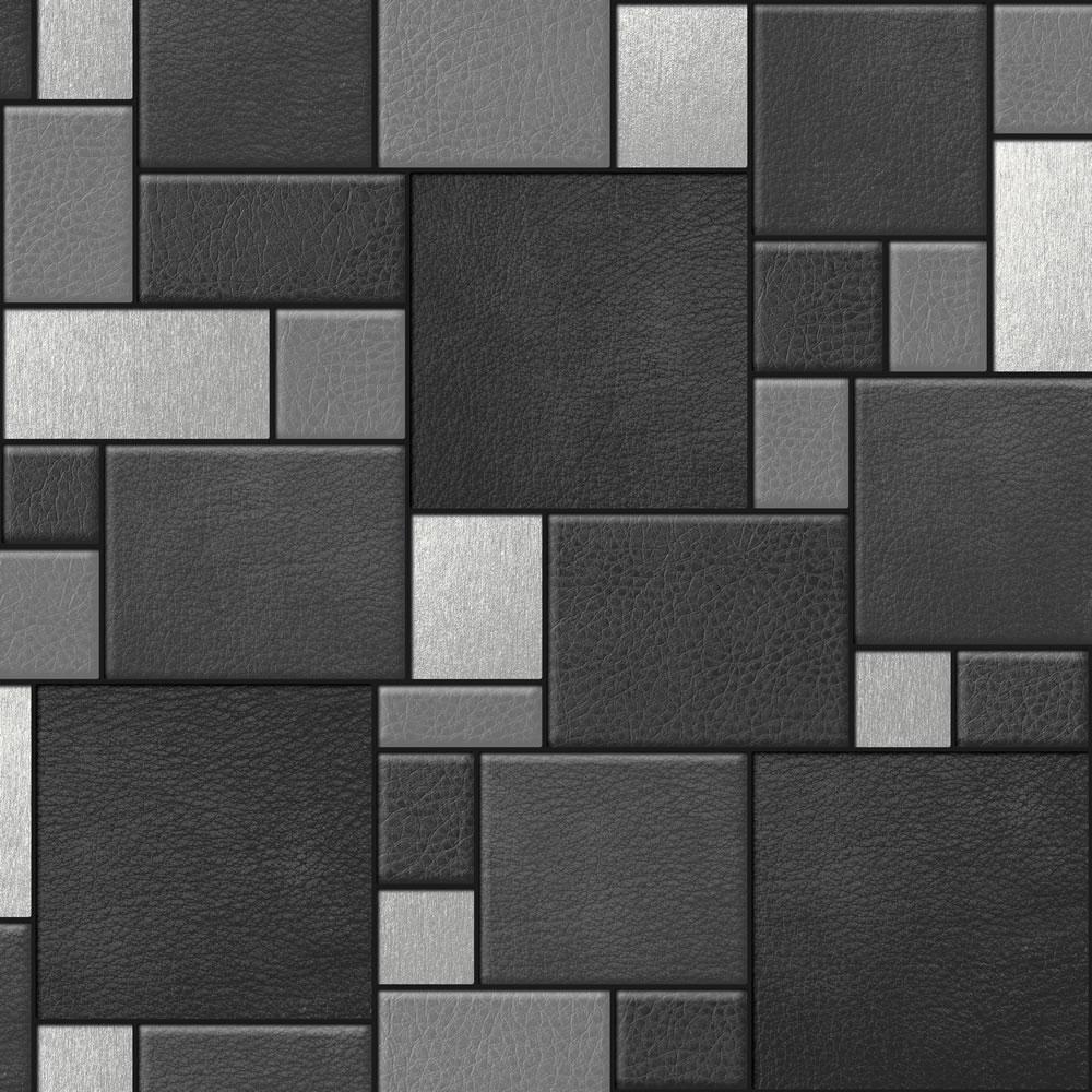 Muriva Leather Tiles Black Wallpaper