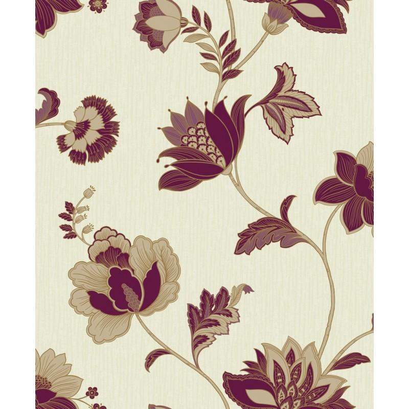 Jacobean Floral Damson Glitter Floral Trail Wallpaper by GranDeco 800x800
