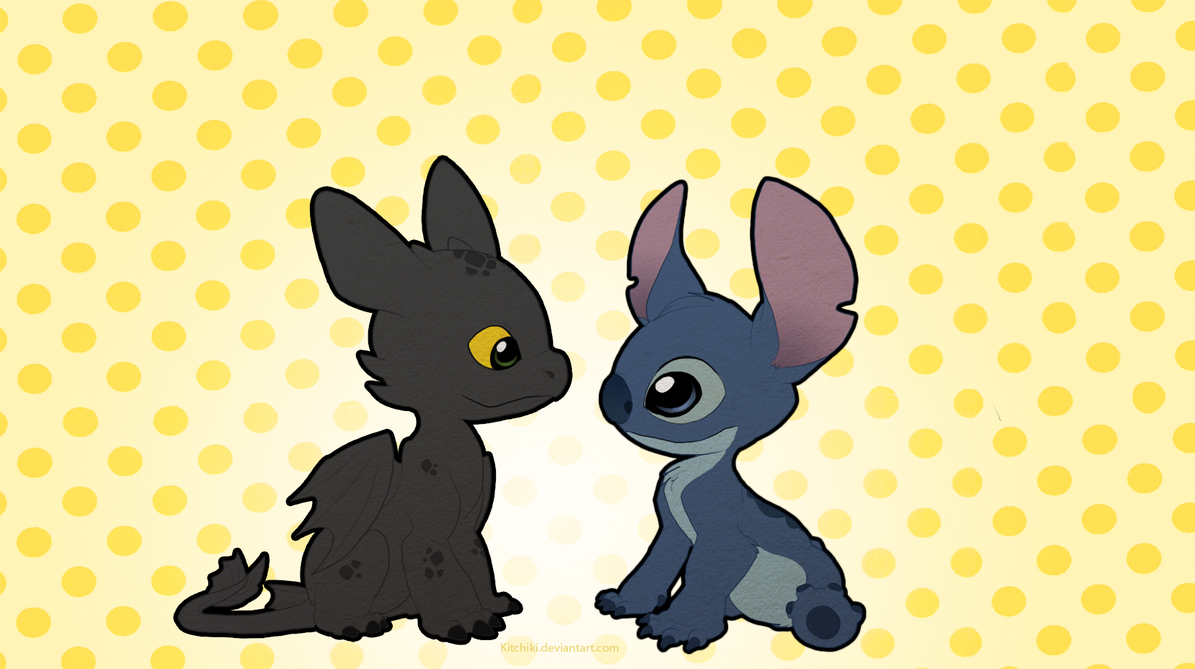 Stitch and Toothless by Kitchiki 1195x669