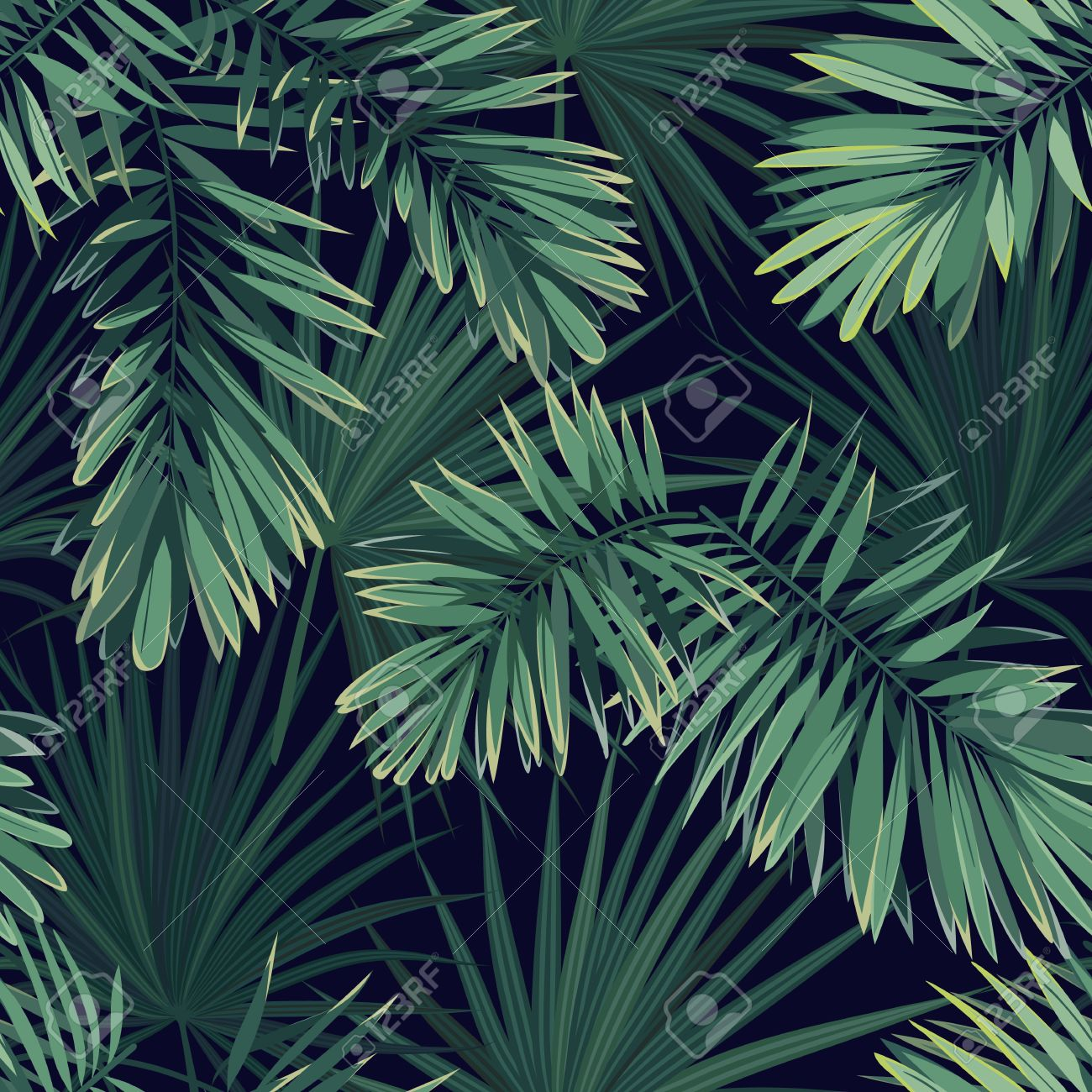 Dark Tropical Background With Jungle Plants Seamless Vector 1300x1300