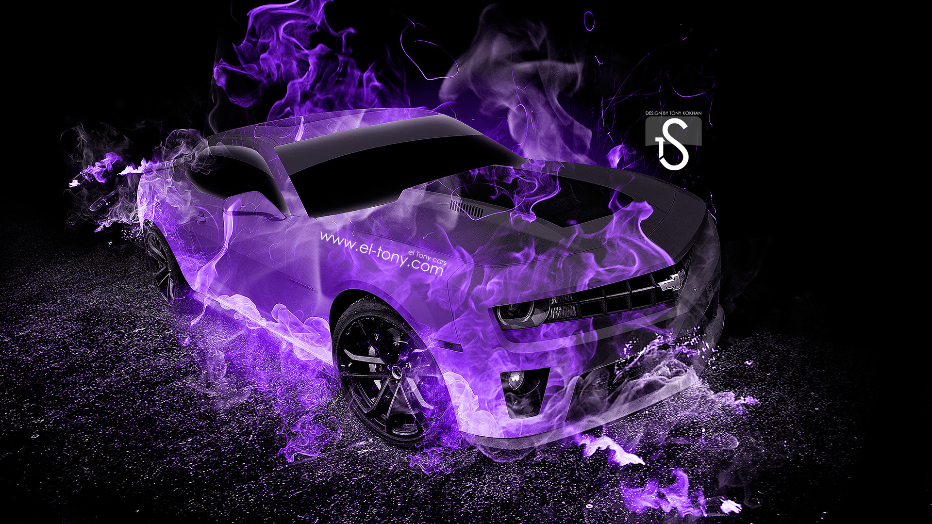 Side Fire Abstract Car 2014 Chevrolet Camaro Muscle Tuning Back Fire .