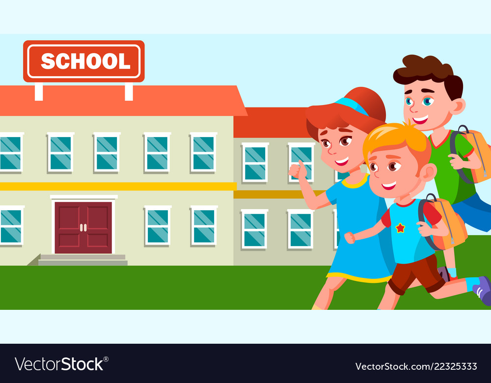 Running children with backpacks on the background Vector Image 1000x780