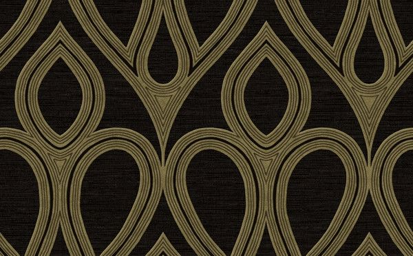 Damask Geometric Wallpaper in Black and Gold by Seabrook Wallcoverings 600x372