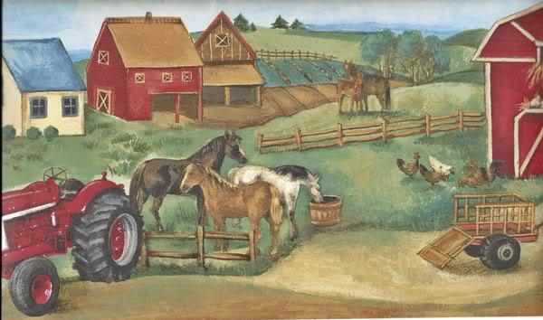 Farmyard Wallpaper Border GU79260 By Galerie   Farm Scenic Border 600x354
