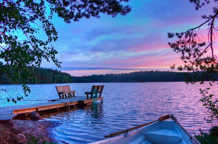 Sunset on a lake in Finland Beautiful places Pinterest 720x475
