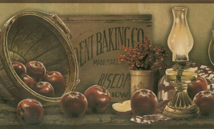 COUNTRY APPLES BASKETS WALLPAPER BORDER BY YORK 736x445