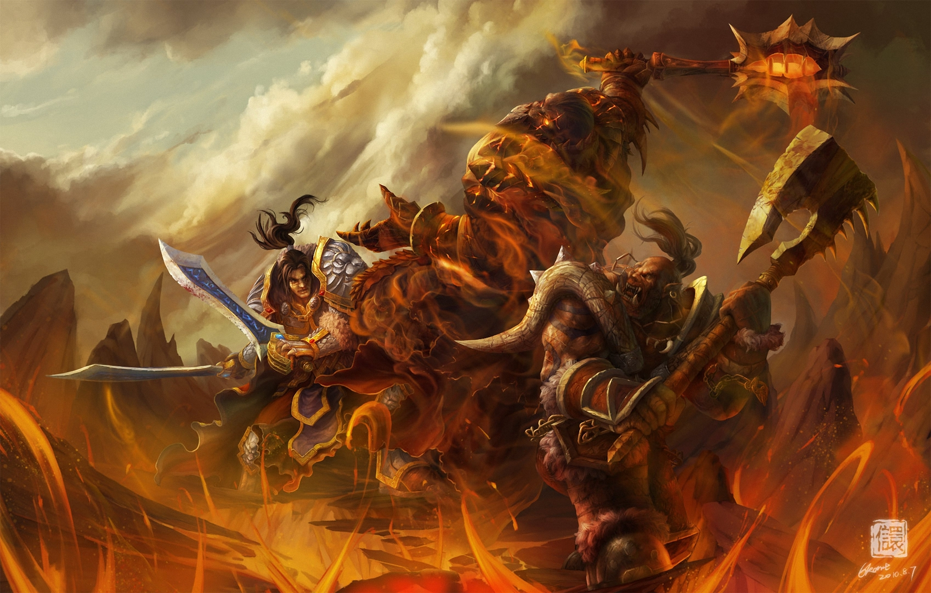 of WarCraft WoW Warrior Orc Battle Monster axe Games fantasy wallpaper 1920x1222