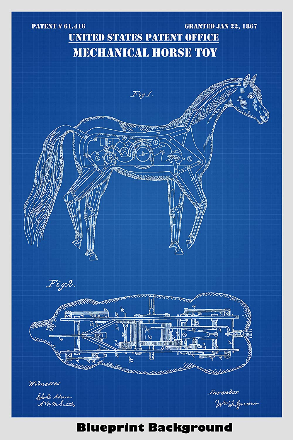 Amazoncom Mechanical Horse Poster Patent Print Art Poster 1000x1500